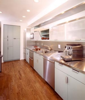 Stainless steel countertops are the business.