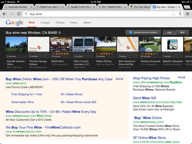 """How """"local search"""" results are starting to help local businesses in Google's search listing results. Click on this pin, to read the blog by Bruce McGechan, www.WineMarketingPros.com The pin is of the local search engine results for """"buy wine"""" in Windsor CA. #winemarketing #marketing #wine"""