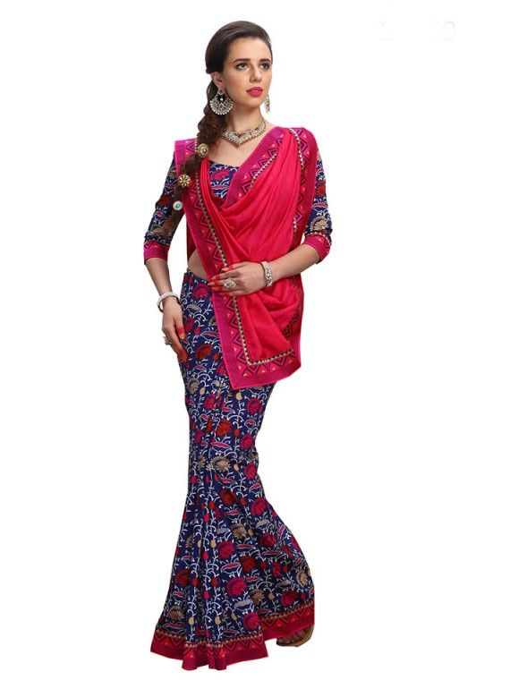 Tempting Navy Blue and Pink Fashion saree