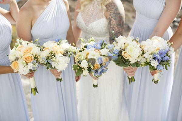 Peach and blue wedding colour palette. Light blue bridesmaids dresses | Destination wedding in Greece