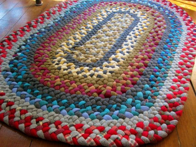 Vintage Wool Rug in Red and Blue from recycled wool by Mrs Ginther, via Flickr