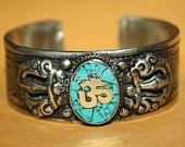 Nepalese turquoise cuff bracelet Nepal bracelet by goldenlines