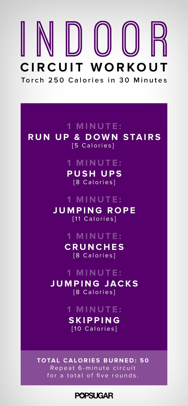 All you need for this 30 minutes indoor workout are a set of stairs, a jump rope, and space to skip around.