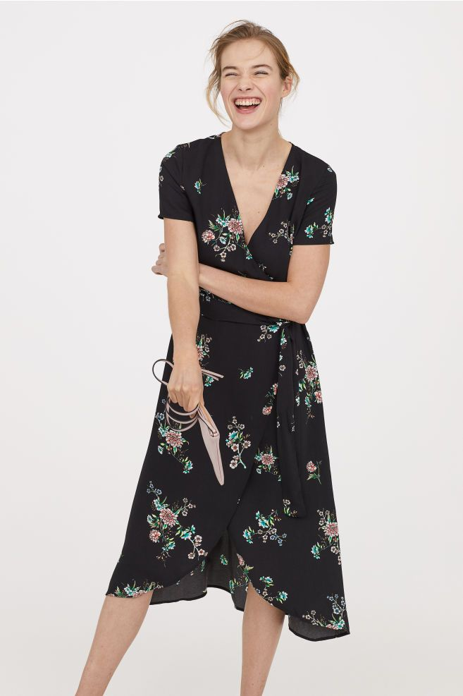 6c9e2f6ee4 Long Wrap Dress - Black floral - Ladies