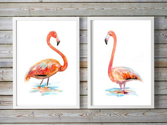 Flamingo kunst  set van2 giclee prints  Flamingo door Zendrawing