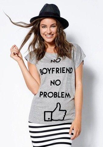 """Tričko s potiskem """"no boyfriend no problem"""" ...řekněte to tričkem ;) #modino_cz #modino_style #fashion #noboyfriendnoproblem #single #girlpower #ModinoCZ"""