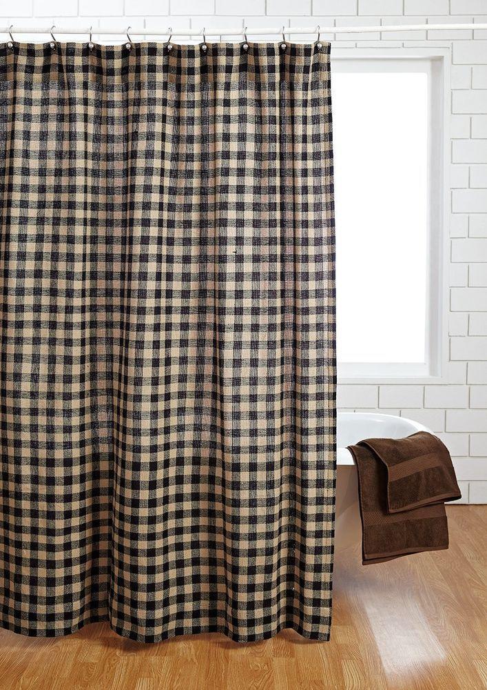 BURLAP BLACK CHECK Shower Curtain Natural Tan Creme Primitive Rustic  Bathroom