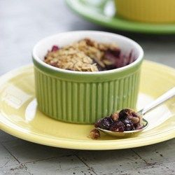 Use whatever fresh or frozen fruit you have on hand to make this old-fashioned crumble. Typical crumble topping has as much as a half cup of butter--ours has just a bit of canola oil and, for richness, chopped almonds, which are full of healthy monounsaturated fats.