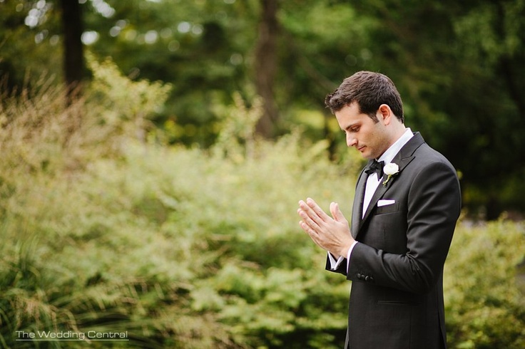 Anticipation - Groom awaits anxiously for his bride during their first look. #NYweddingphotos - Photo by www.theweddingcentral.com