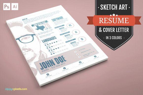Graphic Designer Resume/CV Template by ZippyPixels on @creativemarket