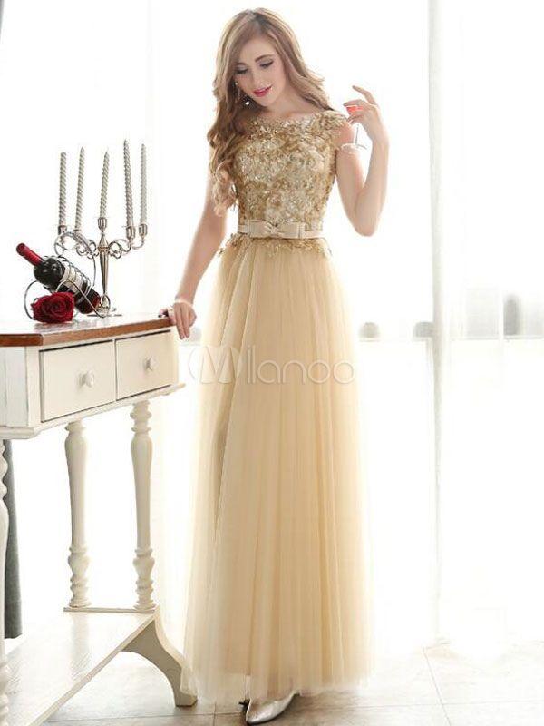 b17147f7b1 Prom Dresses Light Gold Lace Tulle Long Graduation Dress Bow Sash Floor  Length Party Dress - Milanoo.com