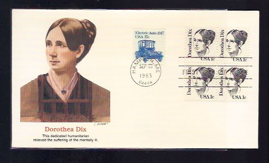 DOROTHEA DIX FIRST DAY COVER 1983 DOROTHEA DIX FIRST DAY COVER 1983 Postmark  Sep 23, 1983 Plastic Sleeve Included