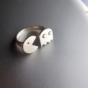 PAC-MAN (パックマン Pakkuman)- Handmade Sterling Silver Ring for 8-bit Game memories $59.00 - $69.00