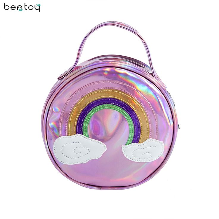 Cheap day clutches, Buy Quality leather handbags directly from China tote bag Suppliers: Bentoy Hologram Color Women Leather Handbags Rainbow Small Tote Bag Personality Day Clutches For Lady Zipper Round Party Blosa