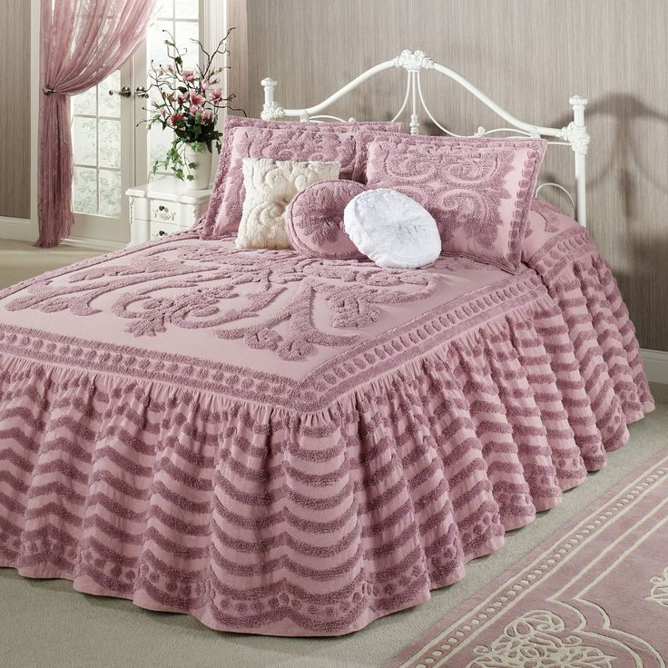 Chenille Skirted Sofa: Intrigue Chenille Ruffled Flounce Oversized Bedspread