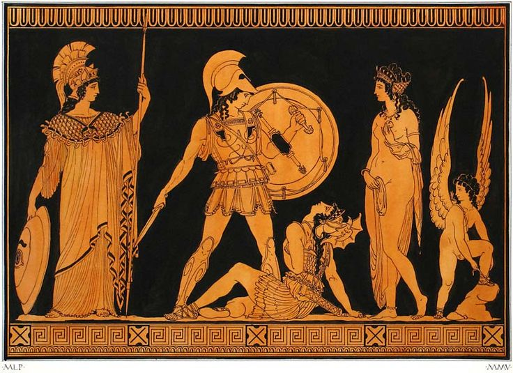 ANCIENT ART.  Ancient Greek painting, Achilles and Penthesella on the Plain of Troy, with Athena, Aphrodite and Eros.