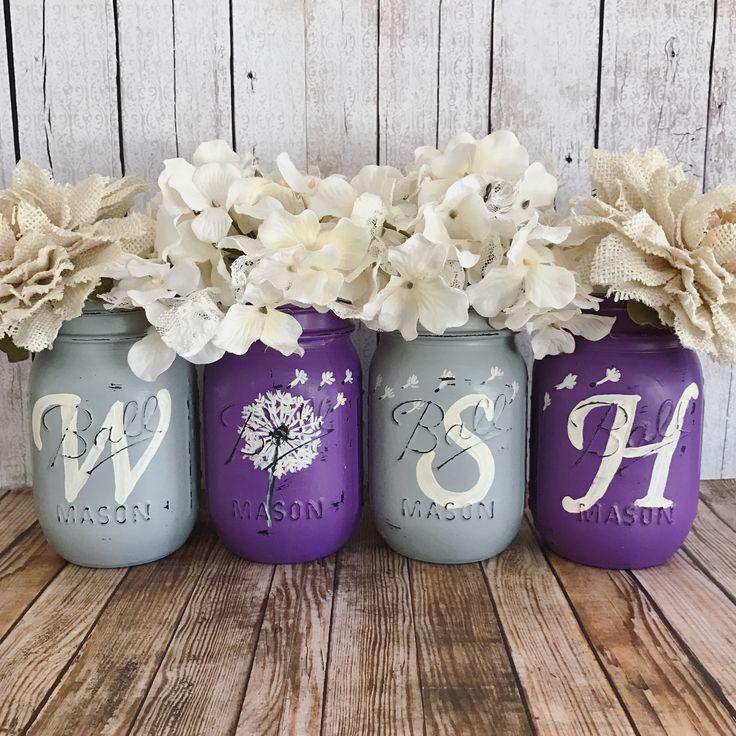 Dandelion WISH Mason jar set   rustic home decor   farmhouse decor   purple and grey