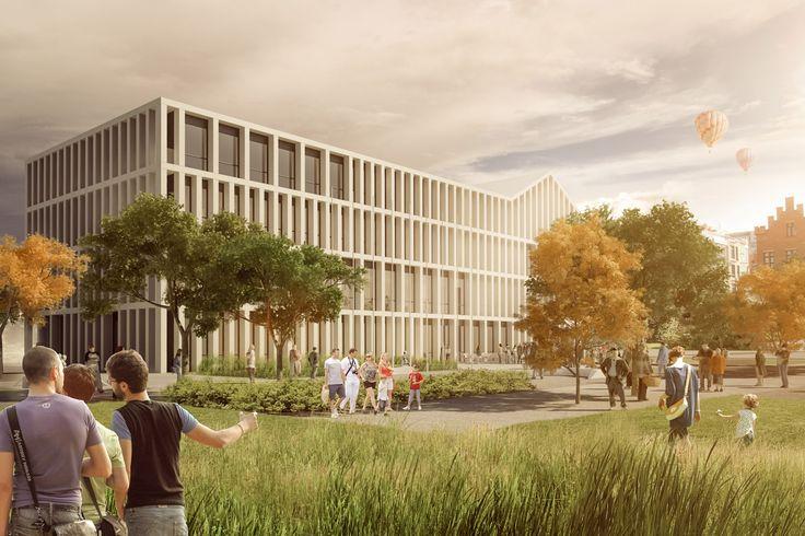 Zwycięskiprojekt na rozbudowę budynku urzędu miasta Kołobrzeg.     Projekt: 22ARCHITEKCI