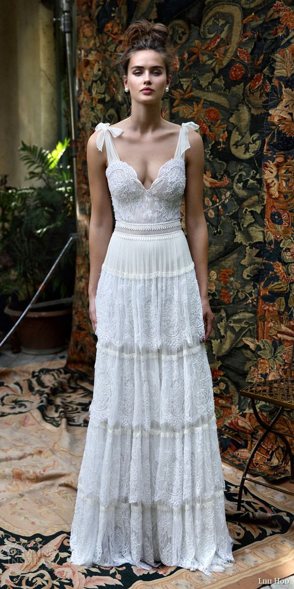 lihi hod bridal 2016 scarlet romantic bohemiand wedding dress self tie straps sleeveless bodice multi lace skirt boho chic