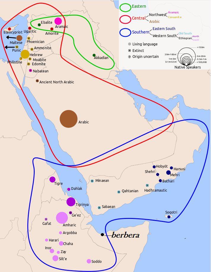 Répartition géographique des peuples arabo-sémites pendant le ier siècle av. J.-C avec la partie nord-arabique ont vois le Punique (phénicien) et le Maltais (phénicien) en direction du Maghreb , et une partie de l'Afrique de l'est jusqu'a la ville somalienne de Berbera sous l'étendu sud-arabique