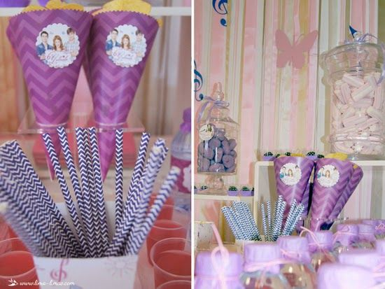 Burlap and purple for this Violetta themed party