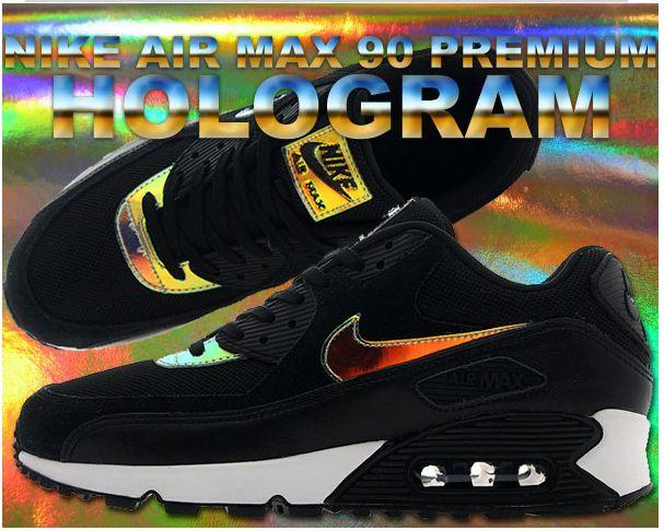 womens air max 90 premium black black pure platinum hologram