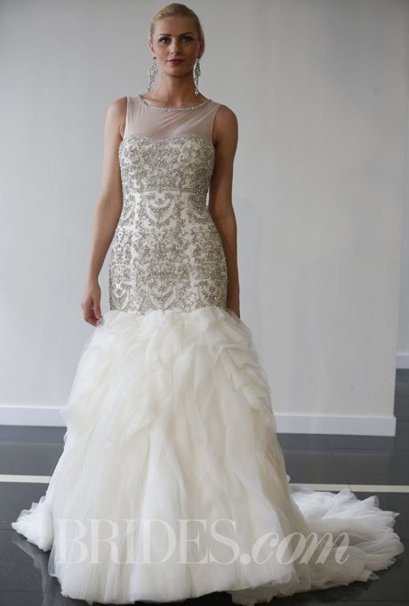 Brides.com: Yumi Katsura - Spring 2014. Beaded mermaid wedding dress with high illusion neckline and layered skirt, Yumi Katsura