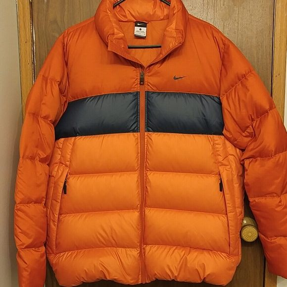 Men's Nike Puffer Jacket! Men's nike puffer jacket. light weight.size large. Deep orange and blue color.in a very good condition.make me an offer Nike Jackets & Coats Puffers