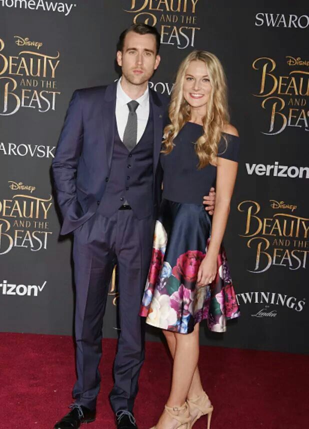 Matthew Lewis and his fiancé, Angela Jones at the premiere of the live-action film, Beauty and the Beast. In other words: Neville supporting Hermione after all these years!