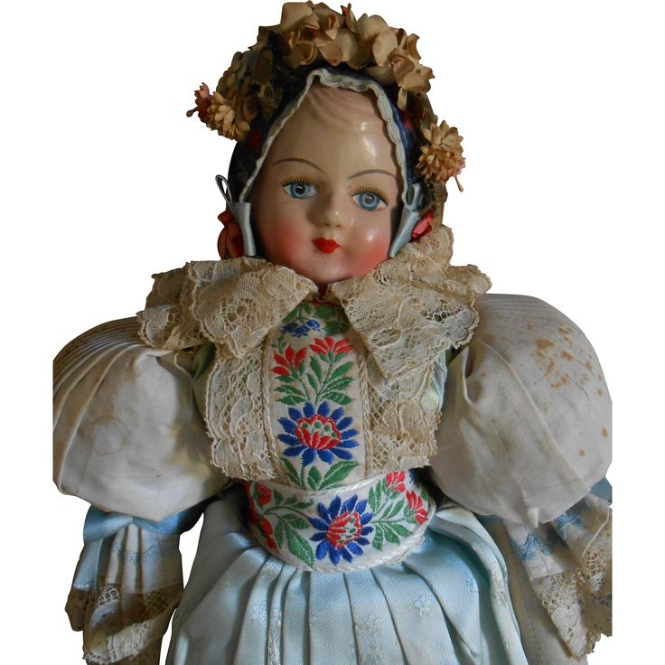 ***Sweet German doll with folklore costume 16,8 inches.****1930 from lovelyfaces on Ruby Lane