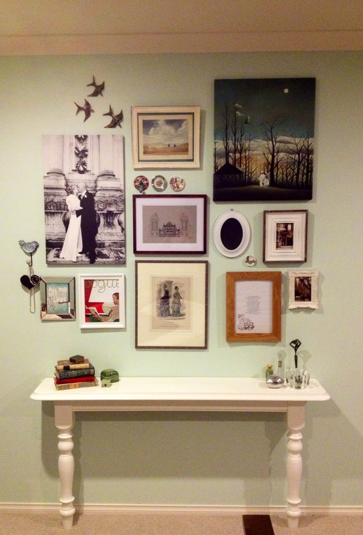 A collection of memories and treasured trinkets in the master bedroom. We turned the rest of the table into a desk.