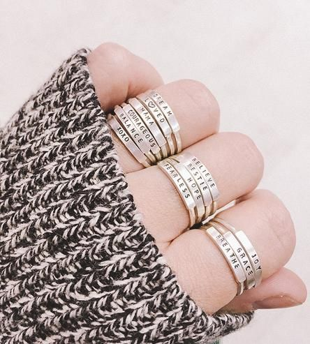 Adorned with teeny-tiny uppercase letters, this message ring says it all for you.