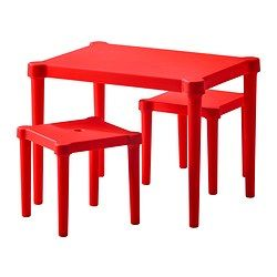 IKEA - UTTER, Children's table with 2 stools,  , , Suitable for indoor and outdoor use.Easy to assemble without tools or screws.The stools can be stacked or pushed under the table to save space when not in use.Lightweight and easy to move by grasping the cut-out handles in the seats.
