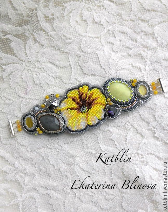 """Купить Браслет """"Солнечный цветок"""" - желтый, браслет, Браслет ручной работы, бисер, бисер японский"""