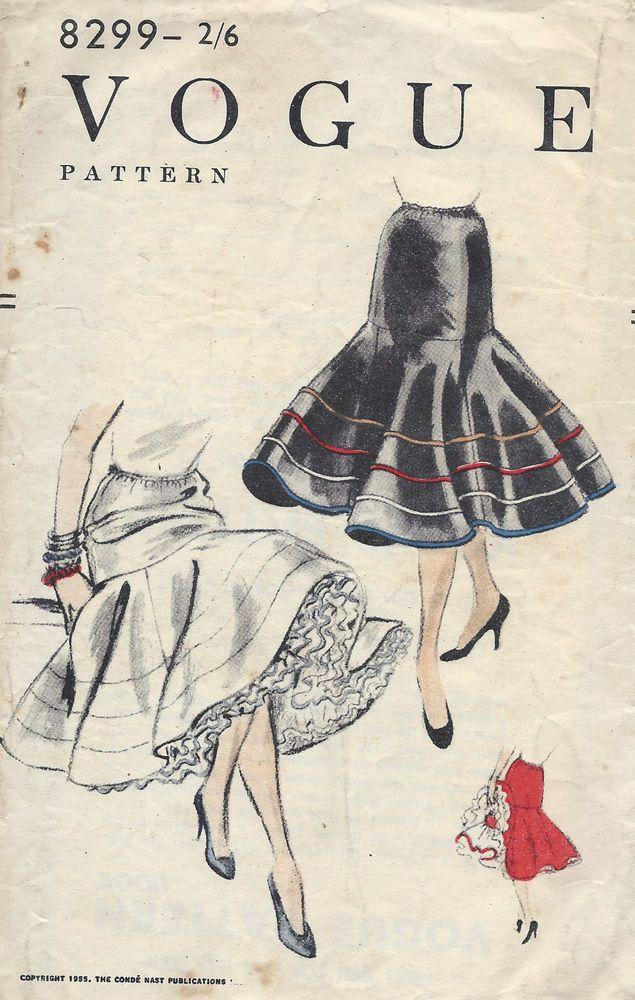 1955 Vintage VOGUE Sewing Pattern W24-to-30 SKIRT ELASTICATED WAISTLINE (1252) #Vogue
