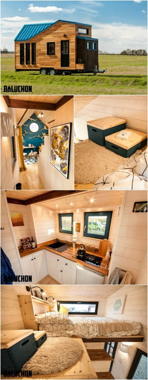 French Tiny House Builders Give Traveler an Upgraded Home - A man in France had spent years traveling the world in a tiny caravan but recently decided it was time to upgrade and spread out in a new tiny house. French tiny house builders, Baluchon, stepped in to help design and build a beautiful and modern home name Essen'Ciel.