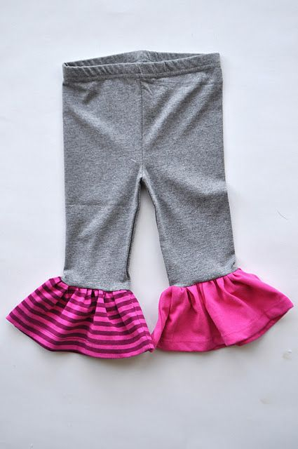 How to make ruffled leggings for girls.  Kids seem to out grow the length of leggings long before they outgrow the width (butt Area) and that can be frustrating for parents - especially if the leggings match a cute top for the child. Add length by sewing on a ruffled bottom edge with some stretchy cotton fabric scraps. If the leggings do have a top,  match the ruffle fabric color to the top.