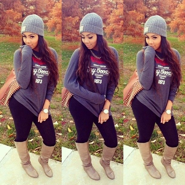 Early Fall Outfit cute swag thug leggings boots hat