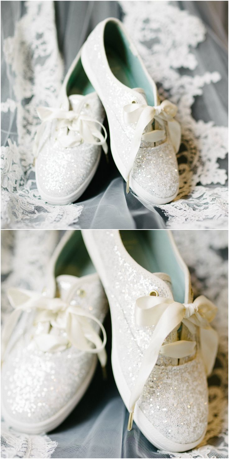 Sparkly tennis shoes, comfortable bridal shoes, Kate Spade, white glitter // Thankfully Taken Photography