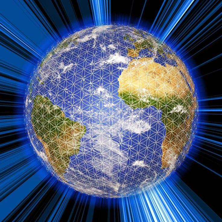 Een netwerk van de levensbloem, ook wel bekend als de Flower of life, om de gehele aarde in.