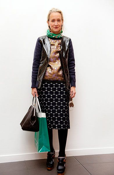 high shine bomber jacket, patterned green scarf, paisley blouse, graphic skirt, vintage bag ... prints, colour, fashion fun worn by Lucinda Chambers