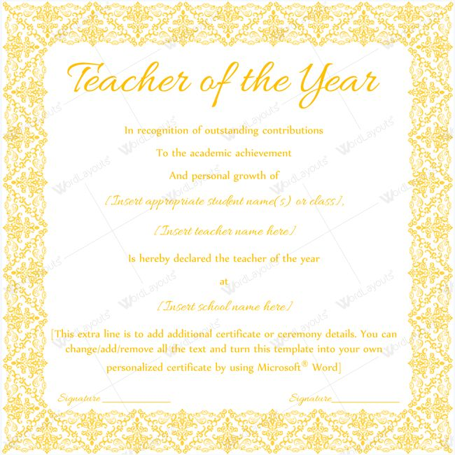 13 best Teacher of the Year Award Certificate Templates images on - ms word certificate template