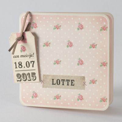 Roze bloemetjeskaart met witte stipjes (584.023) www.buromac.com