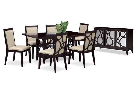 american signature furniture luna parchment dining room collection dining table. Black Bedroom Furniture Sets. Home Design Ideas
