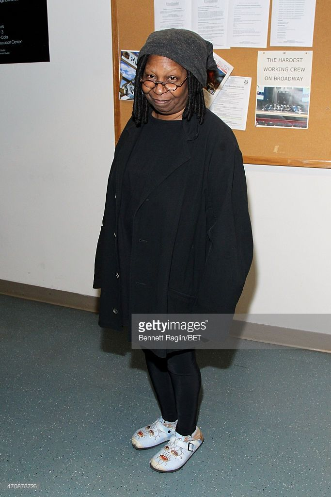 Actress Whoopi Goldberg poses backstage during the BET New York Upfronts on April 23, 2015 in New York City.