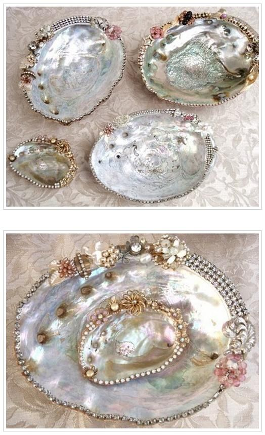 Abalone Shells - Dressed up with vintage jewelry.