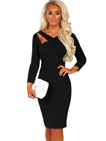 Black Bodycon Dress Long Sleeve Dress V Neck Cut Out Shaping Midi