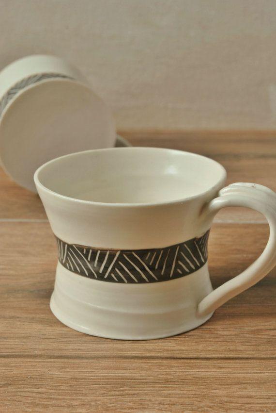 Ceramic Espresso Cup-Porcelain Coffee Mug-Sgraffito-Tribal Design-Twig Pattern-Tea Cup-Comfortable Handle-Hostess Gift-Gift Best Friend