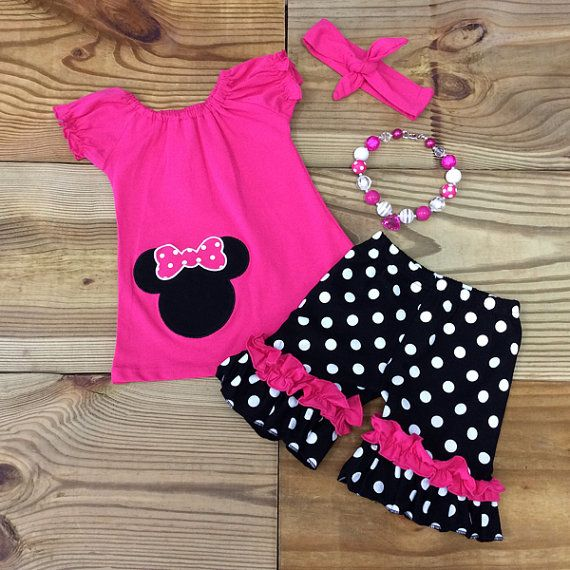 Girl Minnie Mouse Outfit Necklace & Headband by MoxieGirlBoutique