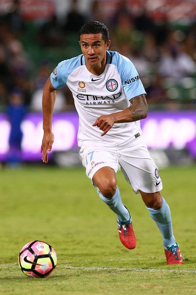 Tim Cahill of Melbourne controls the ball during the round 27 A-League match between the Perth Glory and Melbourne City FC at nib Stadium on April 16, 2017 in Perth, Australia.